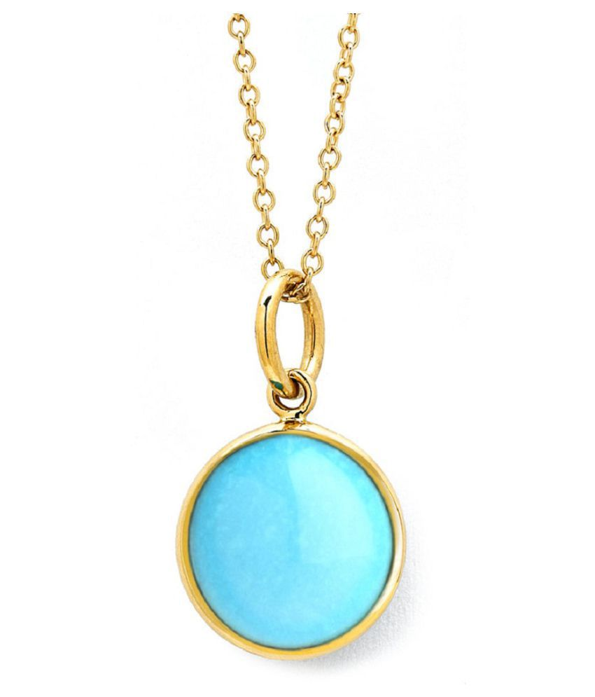 Certified 5.5 Carat   Gold Plated Turquoise Stone Pendant without chain by Kundli Gems