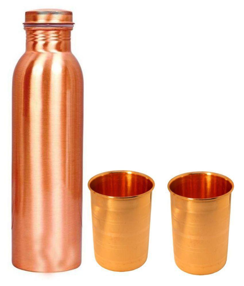 MM Pure Copper Bottle Glass 3 Pcs Lemon set