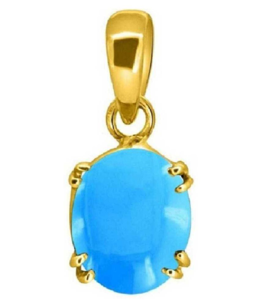 2.25 ratti Gold Plated Turquoise(Firoza)  Pendant without chain for unisex by Kundli Gems\n