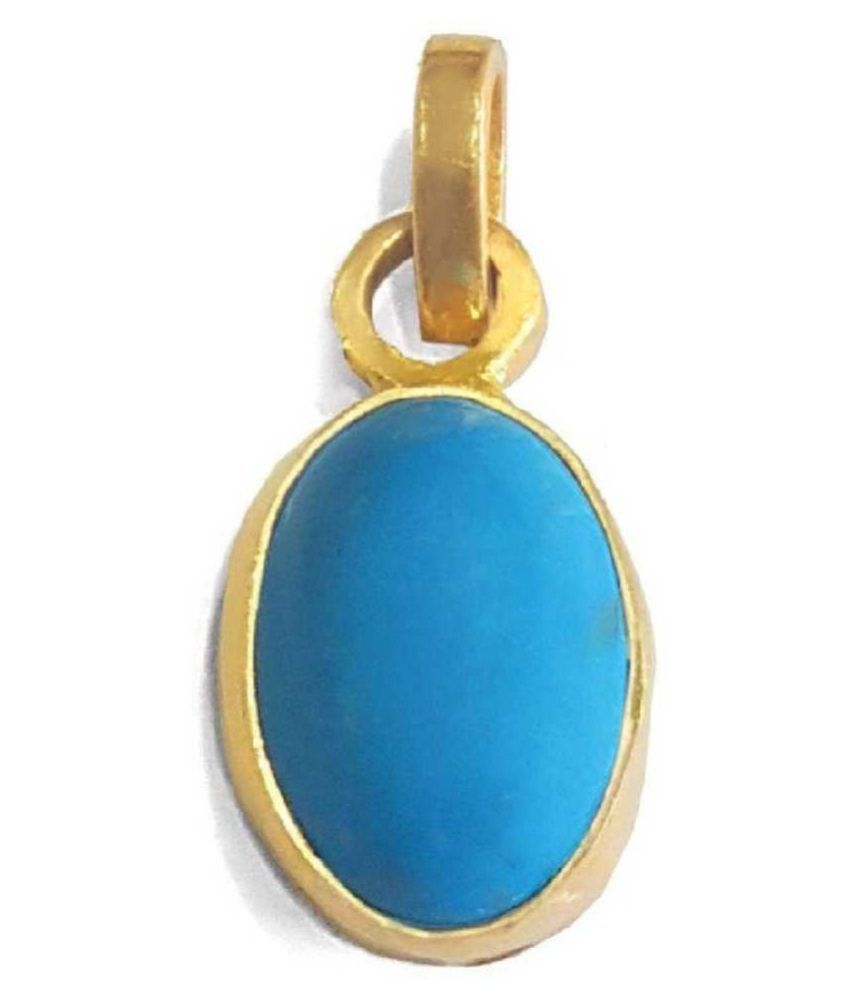 4 carat pure Turquoise Gold Plated Pendant without chain by Kundli Gems\n