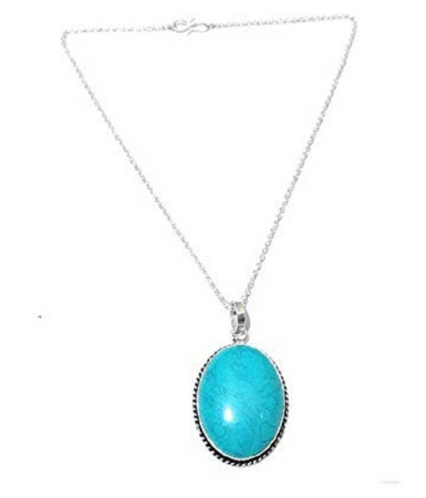 6 carat pure Turquoise (Firoza)Silver Pendant without chain by Kundli Gems\n