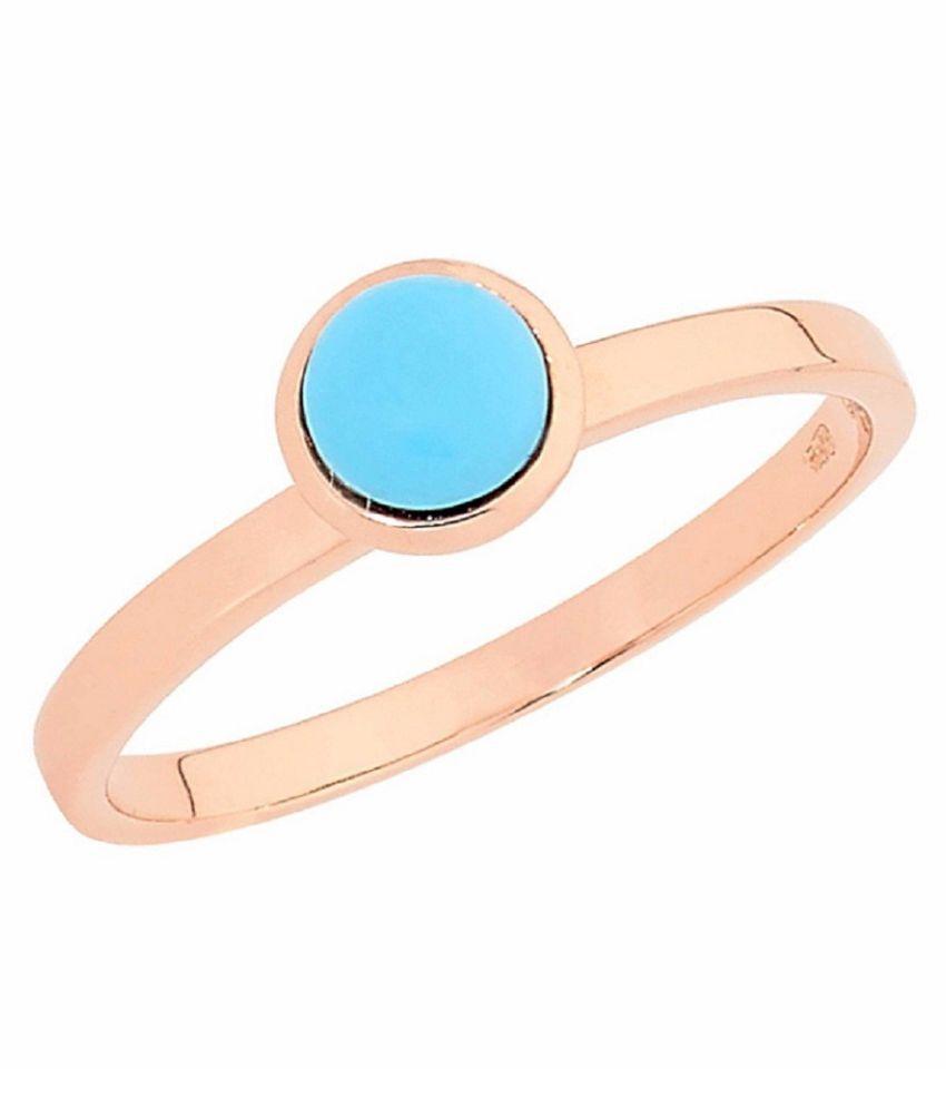 Gold Plated Turquoise Ring 10.5 ratti Jamuniya stone Ring  by Kundli Gems