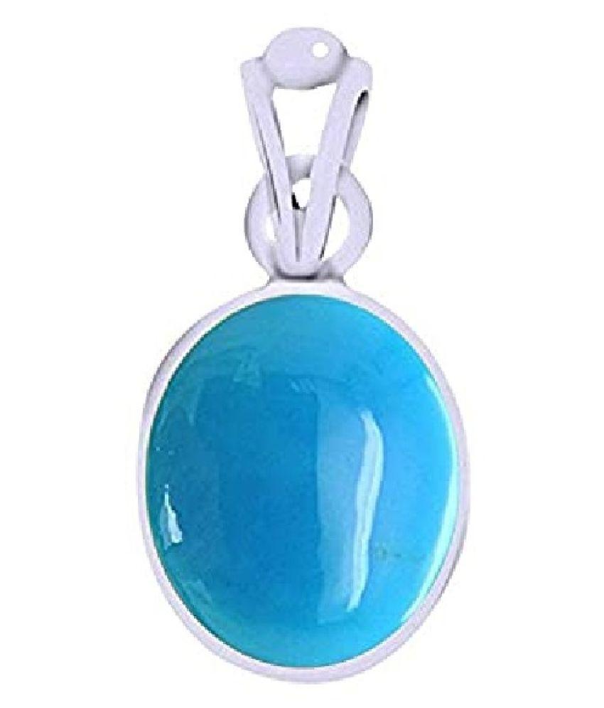 Kundli Gems  - Natural Firoza Pendant Original & Unheated Stone 8.25 Ratti ( Firoza ) Sterling Silver Pendant For Unisex