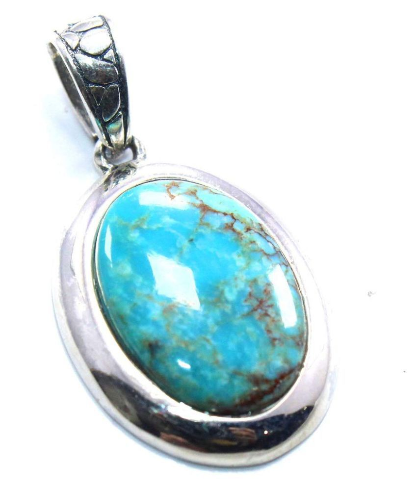Turquoise (Firoza)original & lab certified 3.25 ratti Silver Pendant without chain for astrological purpose by Kundli Gems\n