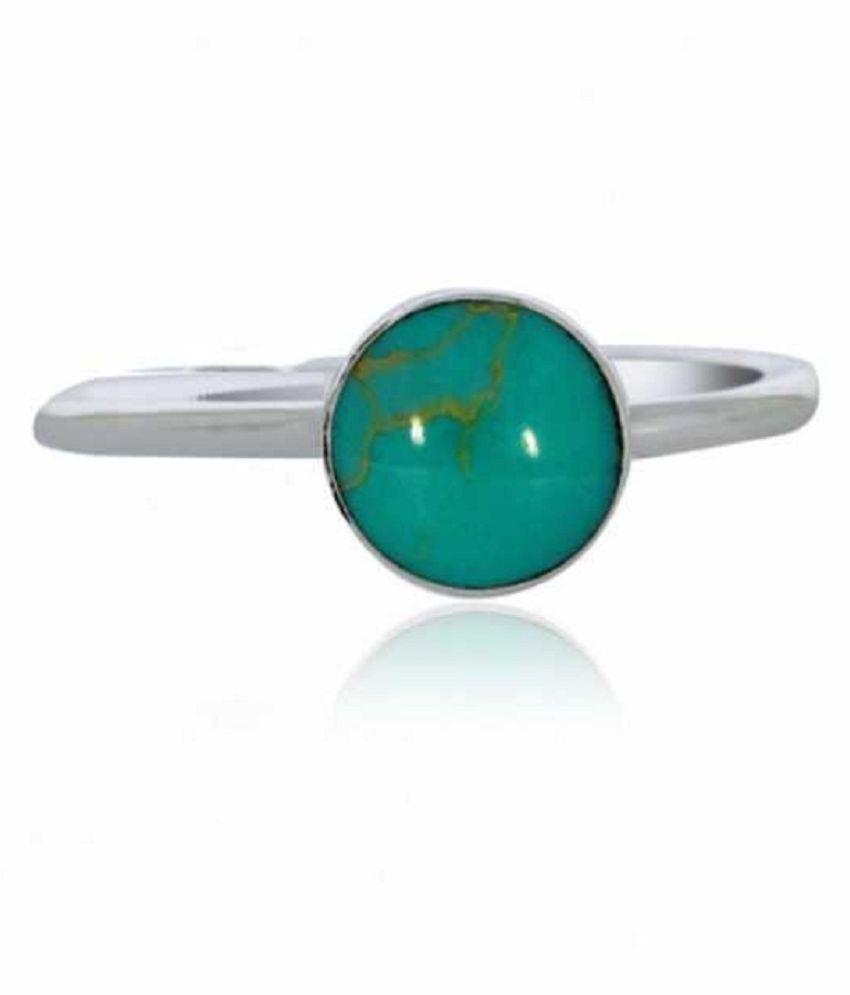 9 RATTI Silver Turquoise(Firoza)  Ring  by Kundli Gems\n