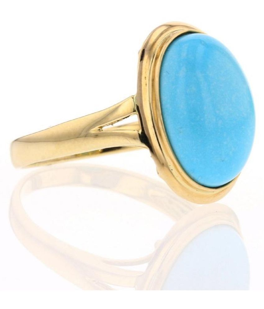 Gold Plated Turquoise Stone Ring 12.25 carat  by Kundli Gems