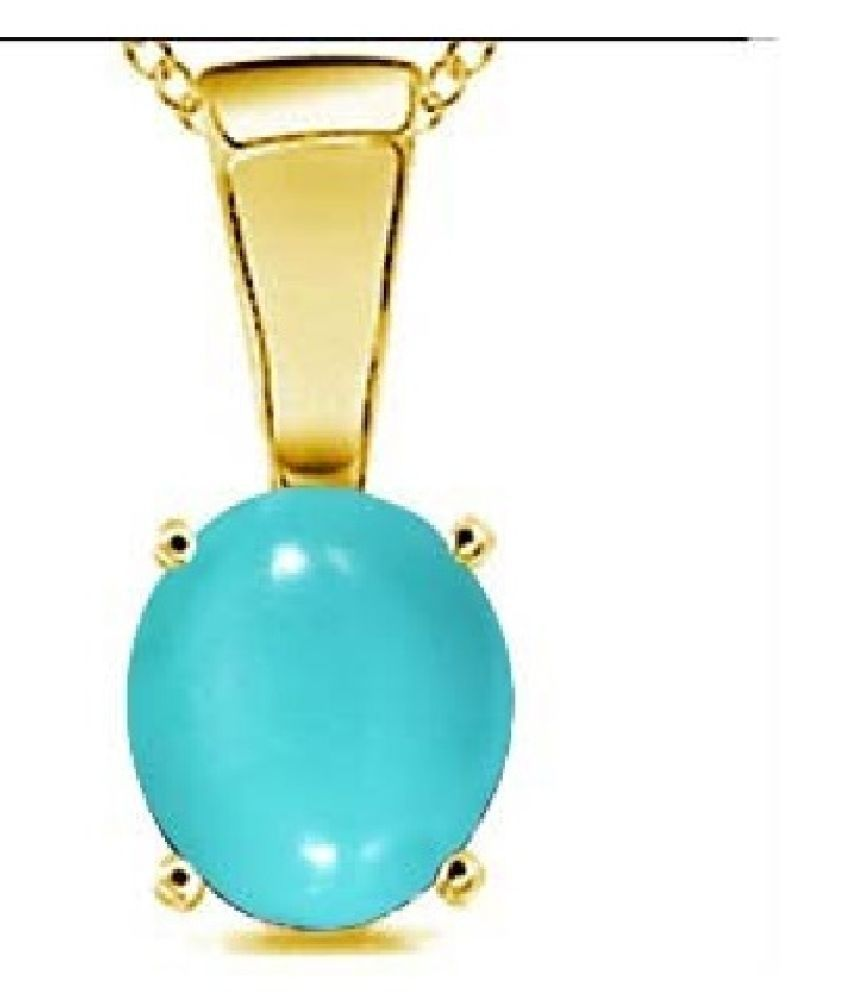 Kundli Gems-  12 Carat Turquoise Pendant with Natural Turquoise Stone Astrological & Lab Certified Gold Plated Turquoise Stone