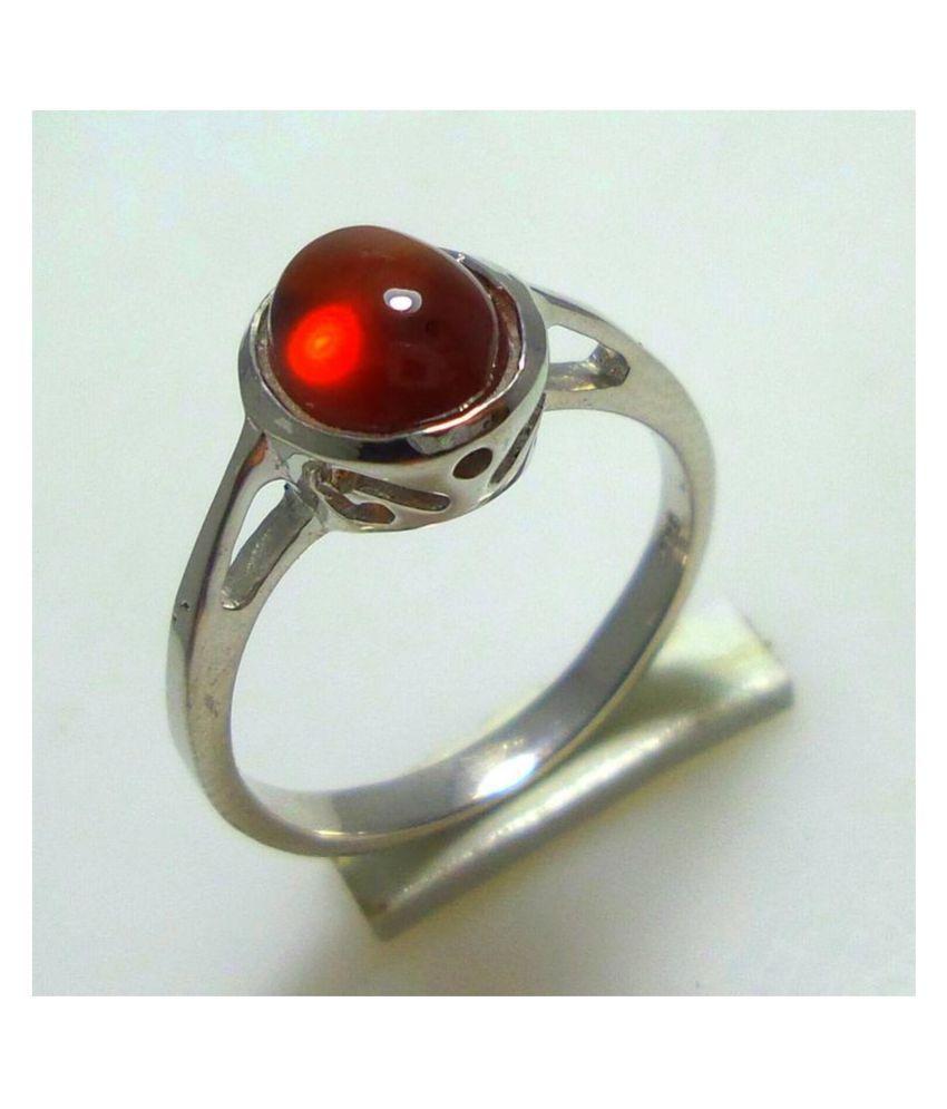 100% Natural 5 carat Hessonite(Gomed) Silver Ring  by Ratan Bazaar\n