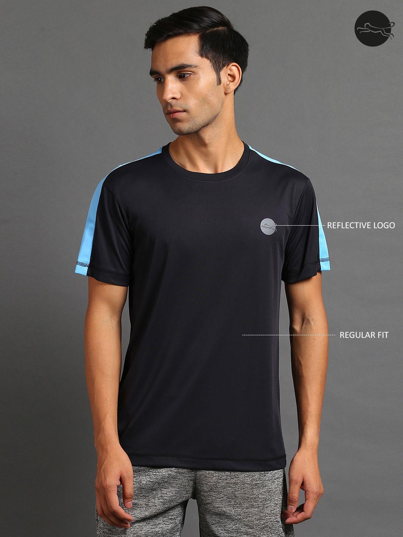 FITMonkey Black Polyester Regular Fit Sports T-Shirt for Men (with blue shoulder)