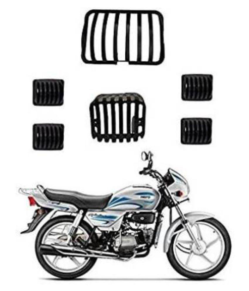 Headlight Grill Tail and Indicator Complete Grills Set (Pack of 6) Plastic of Hero Splendor Bike Headlight Grill  (Black)