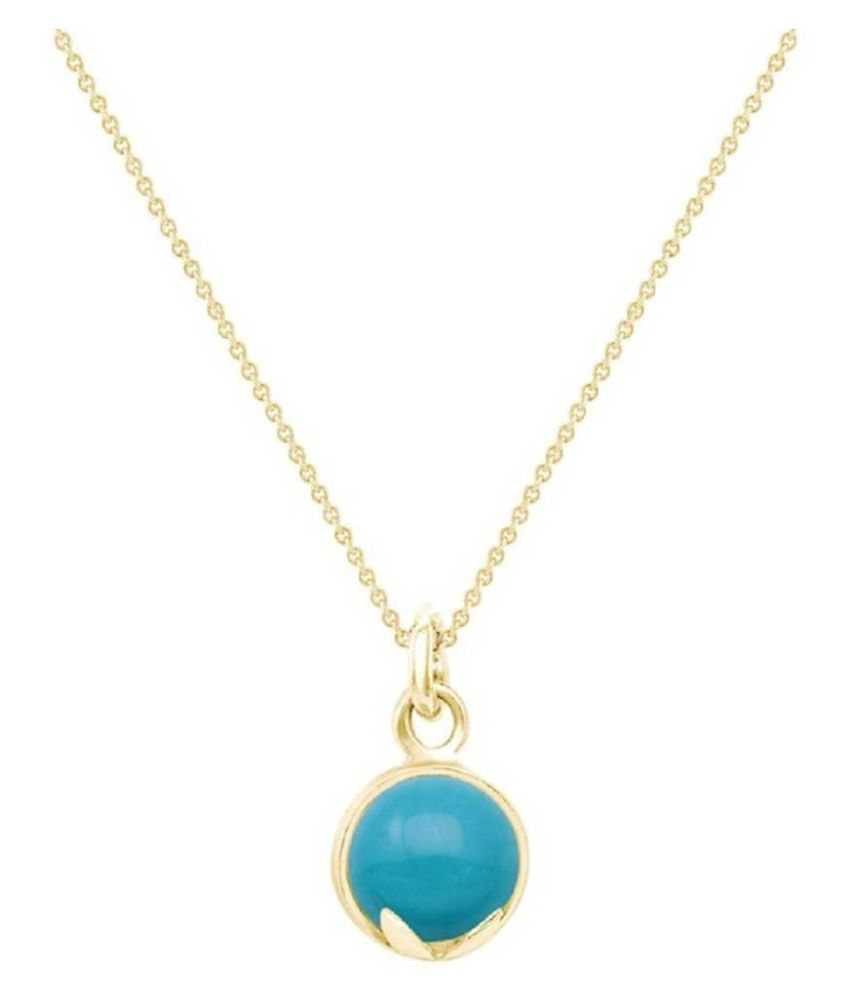 10 Carat Lab Certified   Gold Plated Turquoise(Firoza) Pendantwithout chain for unisex by Ratan Bazaar