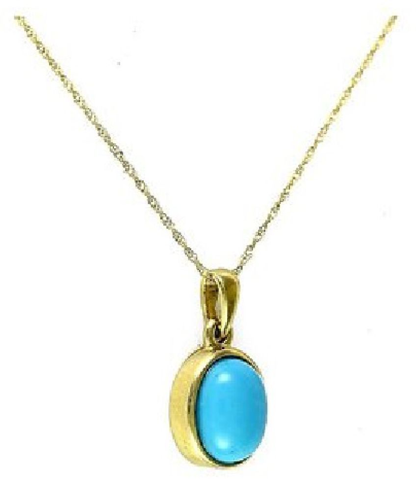 10 carat pure Turquoise(Firoza)  Gold Plated Pendant without chain by Ratan Bazaar\n