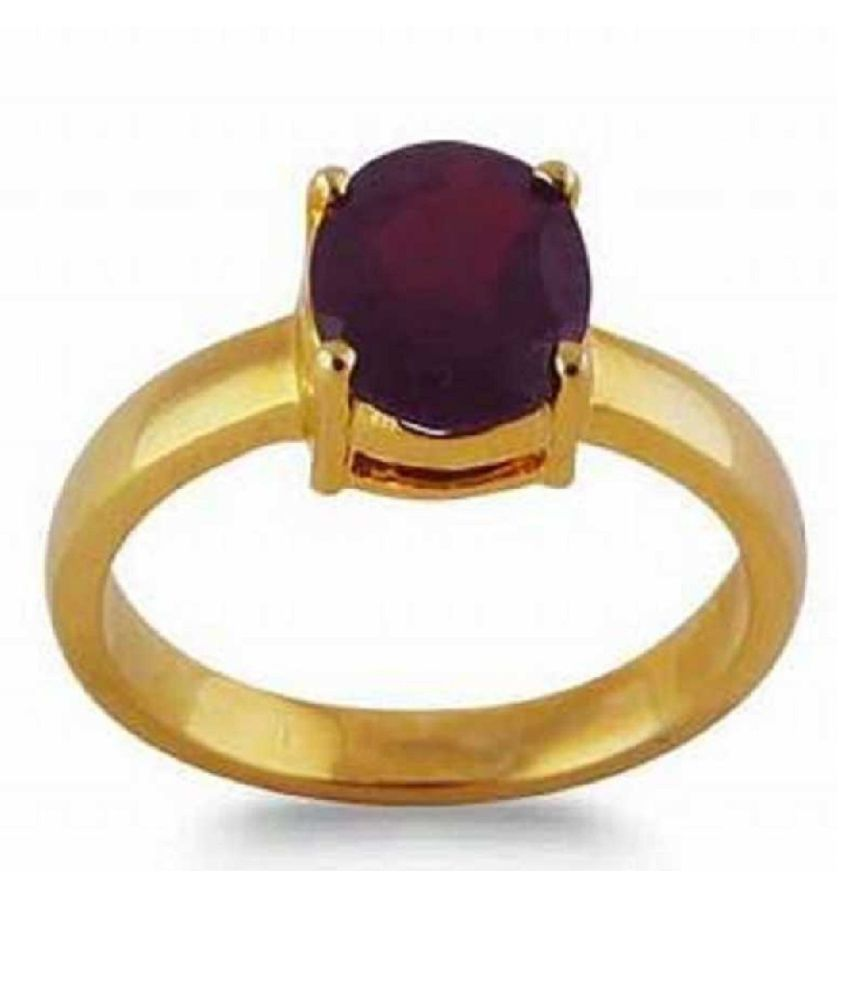 7.5 Carat Stone Hessonite  Gold Plated Ring  for unisex by Ratan Bazaar\n