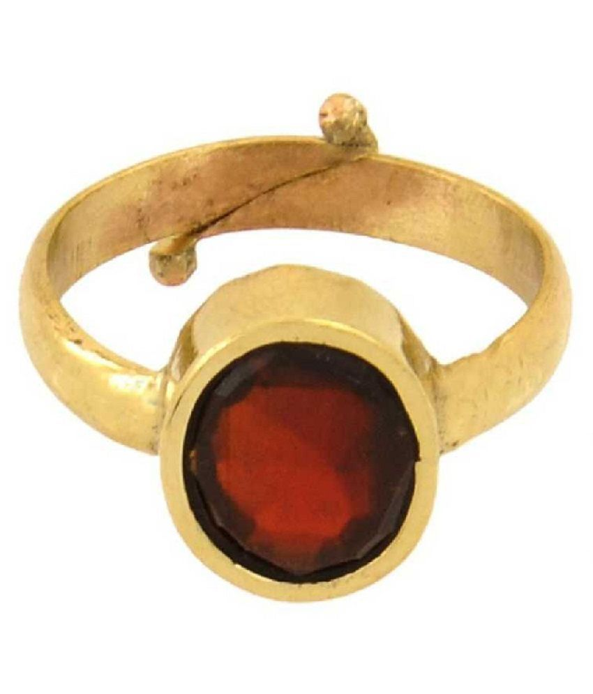 Gold Plated Hessonite  Ring 7.5 ratti Ring  by Ratan Bazaar