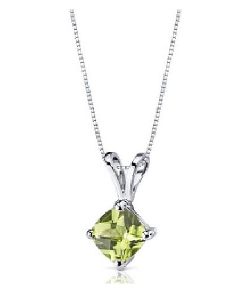 8 RATTI Silver Adjustable Peridot Pendant without chain by Ratan Bazaar\n