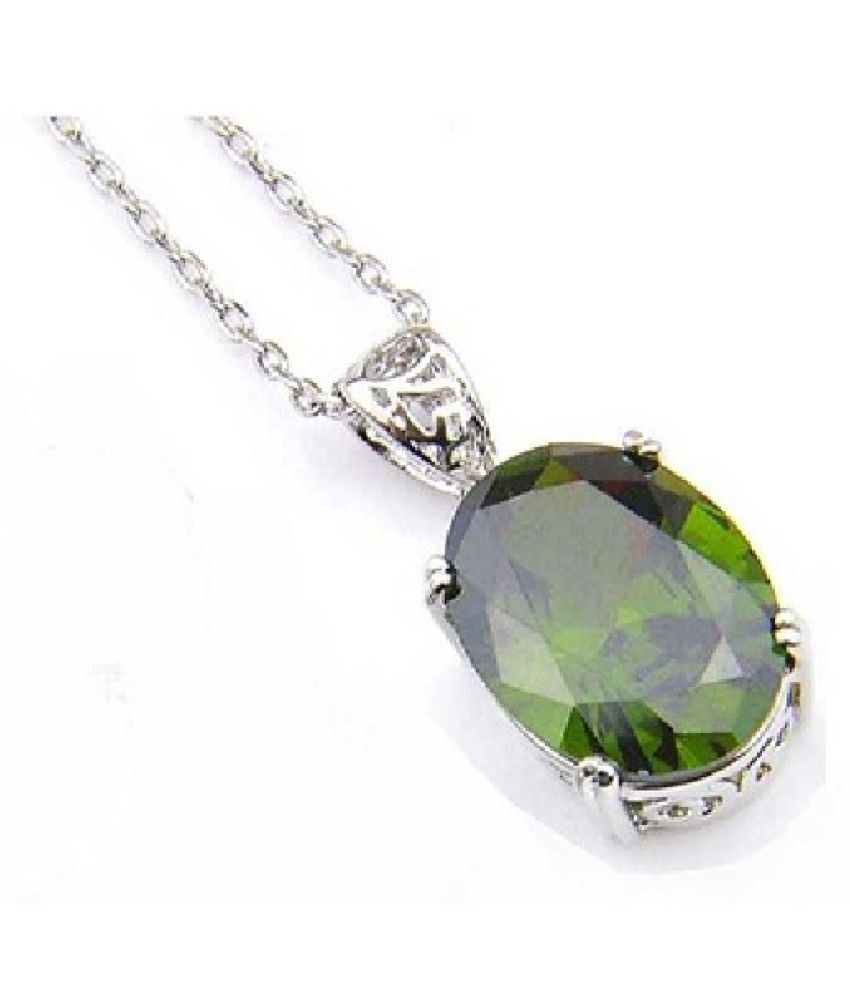 8 ratti Natural Peridot Stone Unheated Lab Certified Silver Pendant without chain by Ratan Bazaar\n