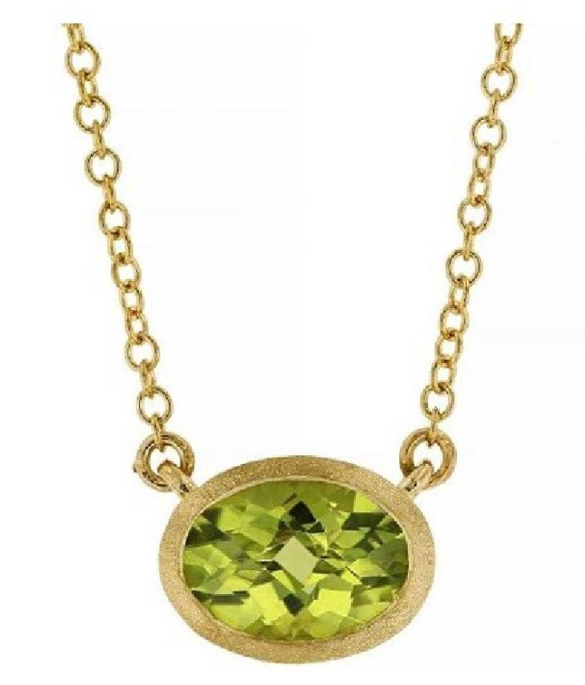 Peridot Pendant 11 Ratti 100% Original Gold Plated Peridot Stone without chain by Ratan Bazaar
