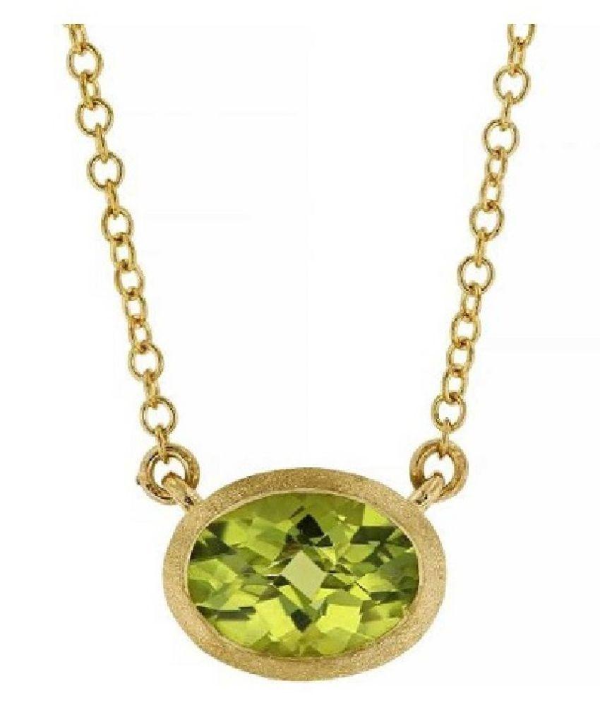 Peridot Pendant 2 Ratti 100% Original Gold Plated Peridot Stone without chain by Ratan Bazaar