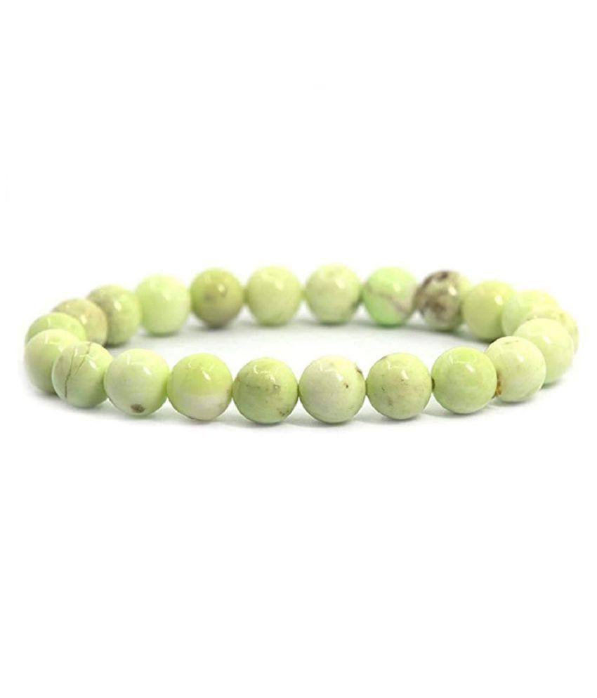 Aahana Natural Round Beads Chrysoprase Crystal Stone 8mm Bracelet Reiki Chakra Yoga Meditation Semi Precious Gemstones Stretchable Bracelet for Unisex