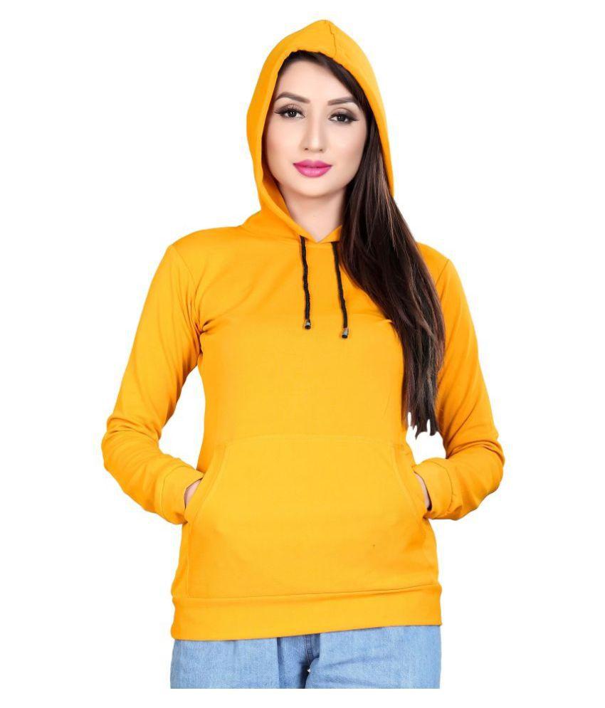 Alposh Polyester Yellow Hooded Sweatshirt