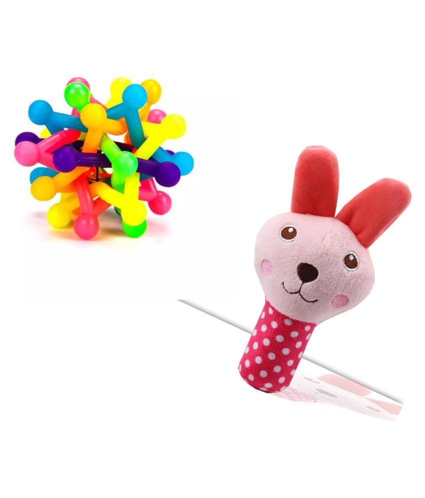 KUTKUT Combo of Colorful Bell Sound Woven Chewing Ball and Animal Cartoon stuffed Plush Squeak Sound Chew Toy for Dogs and Cats