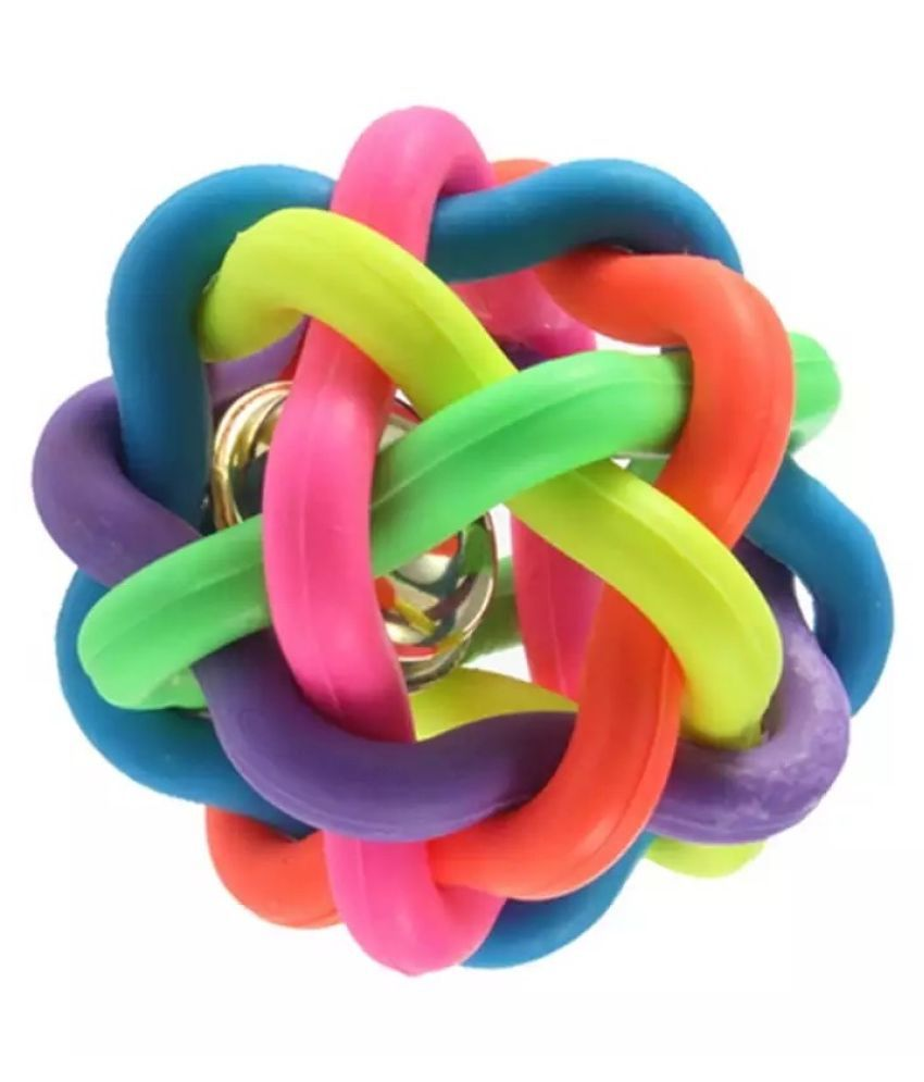 KUTKUT Woven Braided Rainbow Bouncy Rubber Chew Ball with Jingle Bell Inside for Pet Training and Teeth Cleaning Toy Suitable for Dogs Cats (Medium)…