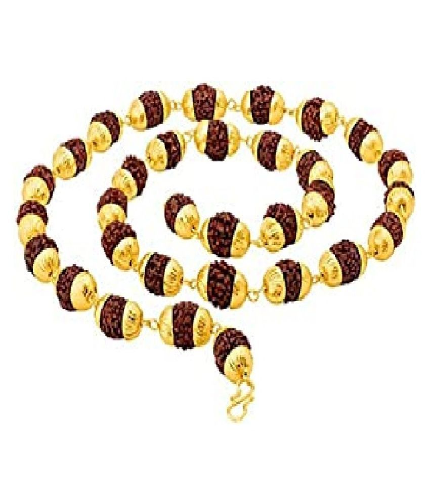 Kundli Gems - Rudraksh Mala Shiva God Gold Plated Caps Rudraksh Mala Chain for Unisex