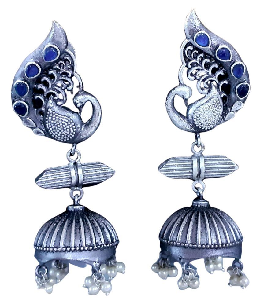 Mrigangi Long Oxidised Silver Peacock Earring Alloy Drops & Danglers