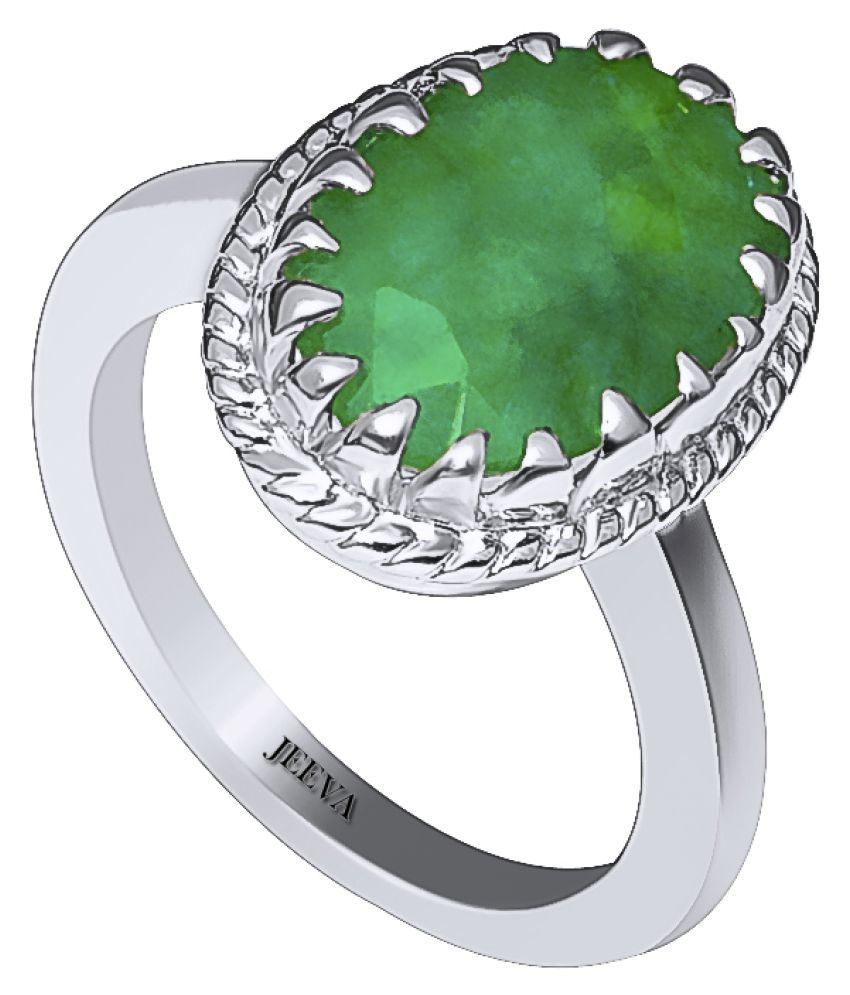 Jeeva Certified Emerald (Panna) 6.25 Ratti or 6.55 Cts Astrological Gemstone BIS Hallmark 925 Stering Silver Ring for Men & Women