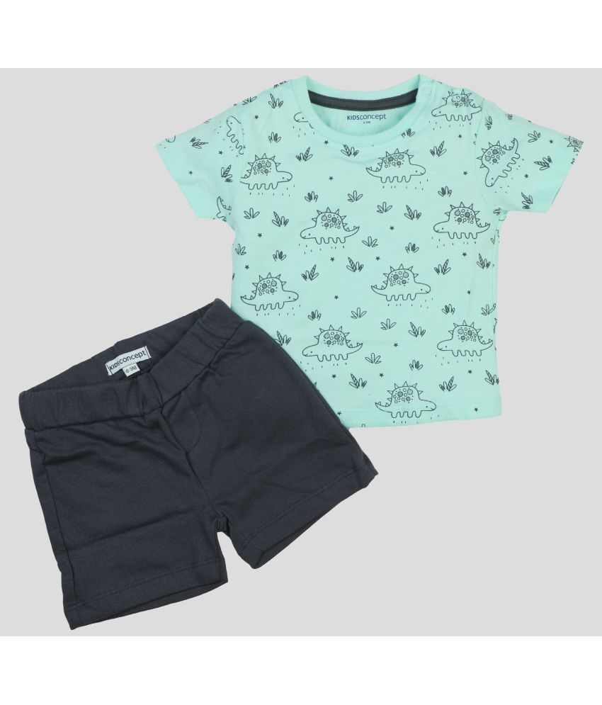 Kids Concept Cotton T Shirt with Shorts - Dino Set…
