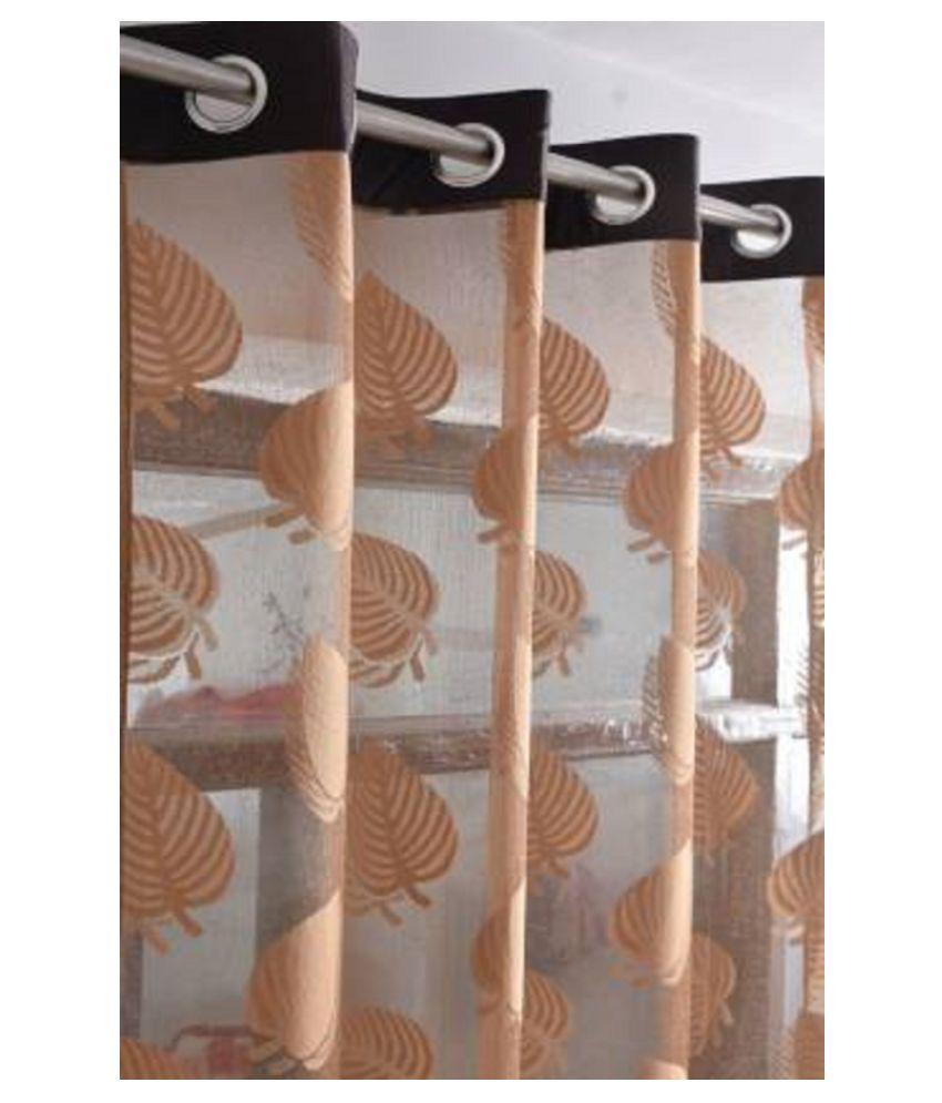 RED INDIA Single Door Semi-Transparent Eyelet Net Curtains Brown