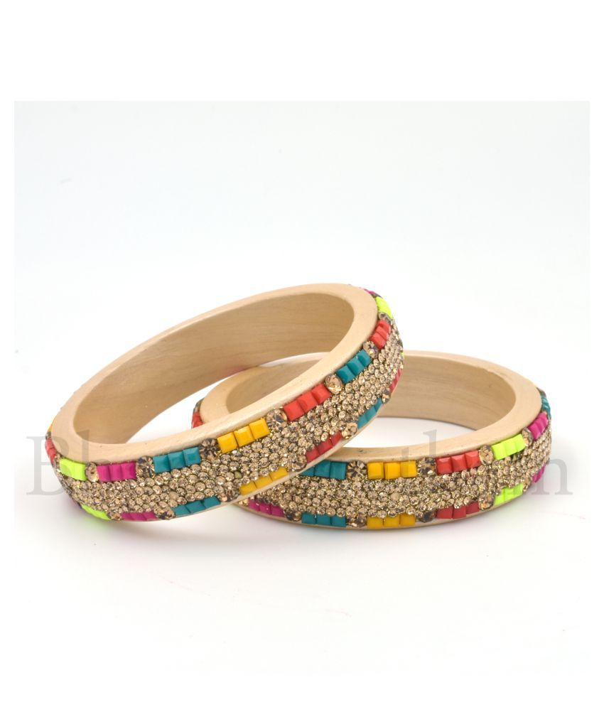 BHARAT PRATHAM-Shekhawati/Rajasthani Designer Kada/Bengal For Women | Bengals Chuda for Women | Bengals Handmade in Multicolor Color 2 Piece Set With Good Quality Stones