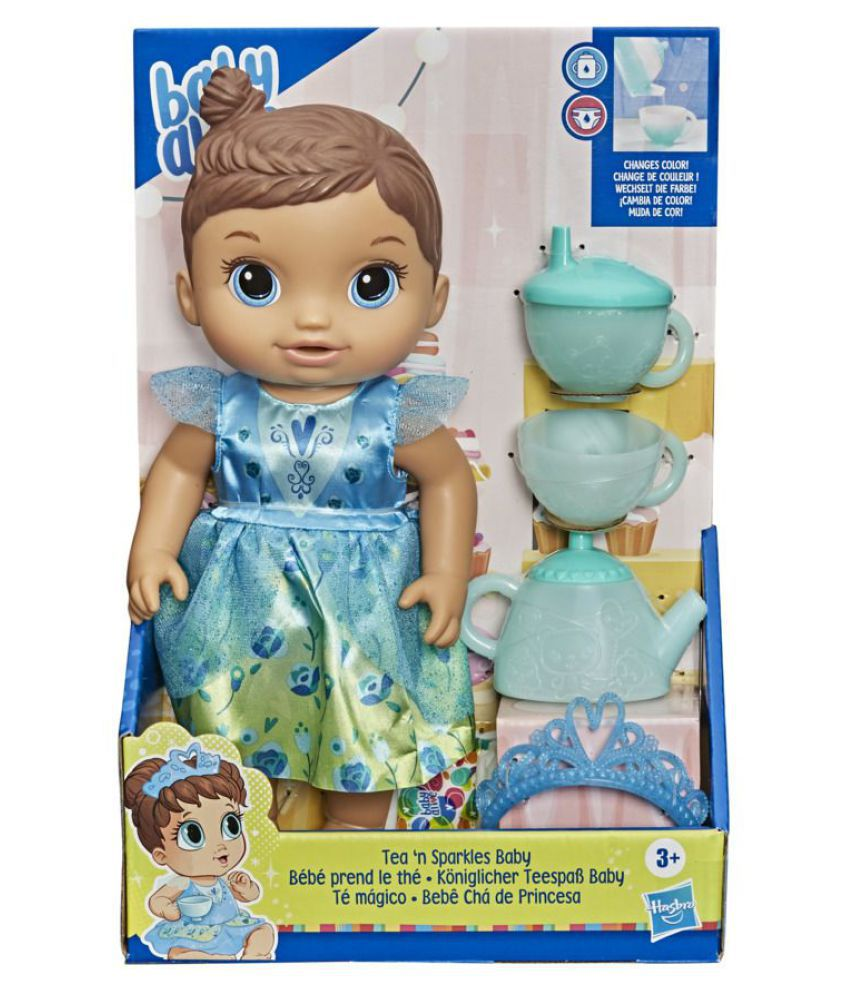 Baby Alive Tea 'n Sparkles Baby Doll, Color-Changing Tea Set, Doll Accessories, Drinks, Wets