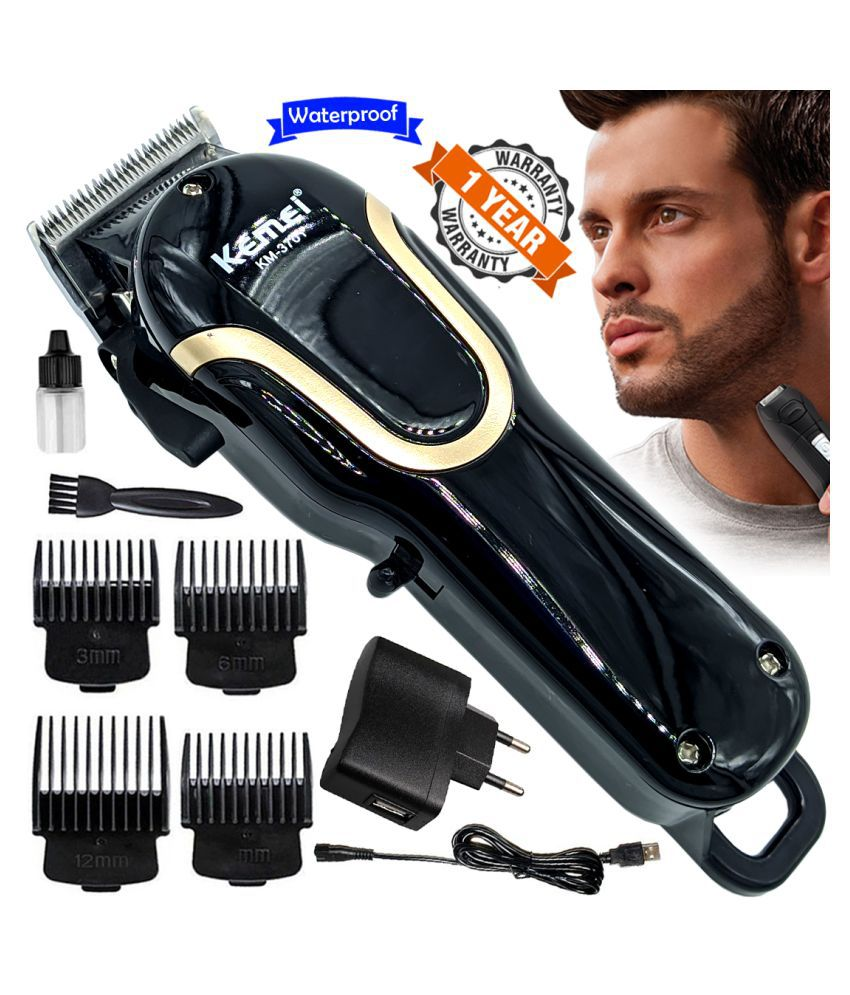KM Rechargeable Waterproof Cordless Beard Mustache Trimmer Hair Clipper For Men Combo