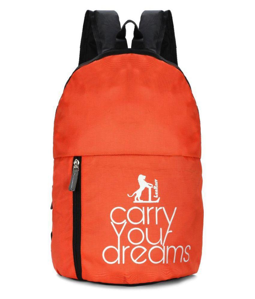 LeeRooy Orange Canvas College Bag