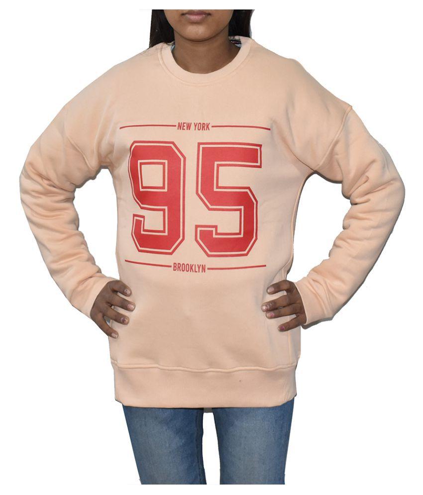 Swaggers Cotton Beige Non Zippered Sweatshirt