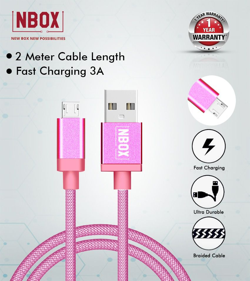 NBOX Fast Charging Fishnet Braided Micro USB Data Cable - 2 Meters(Pink)