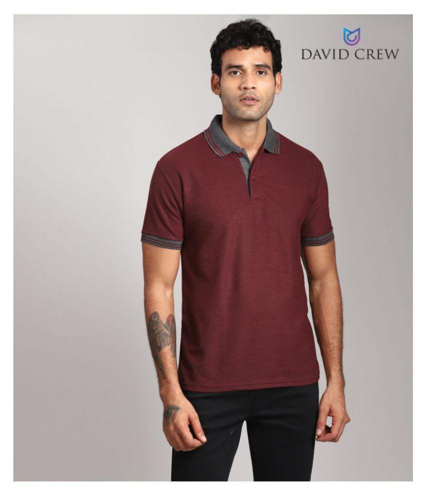 David Crew Polyester Maroon Plain Polo T Shirt