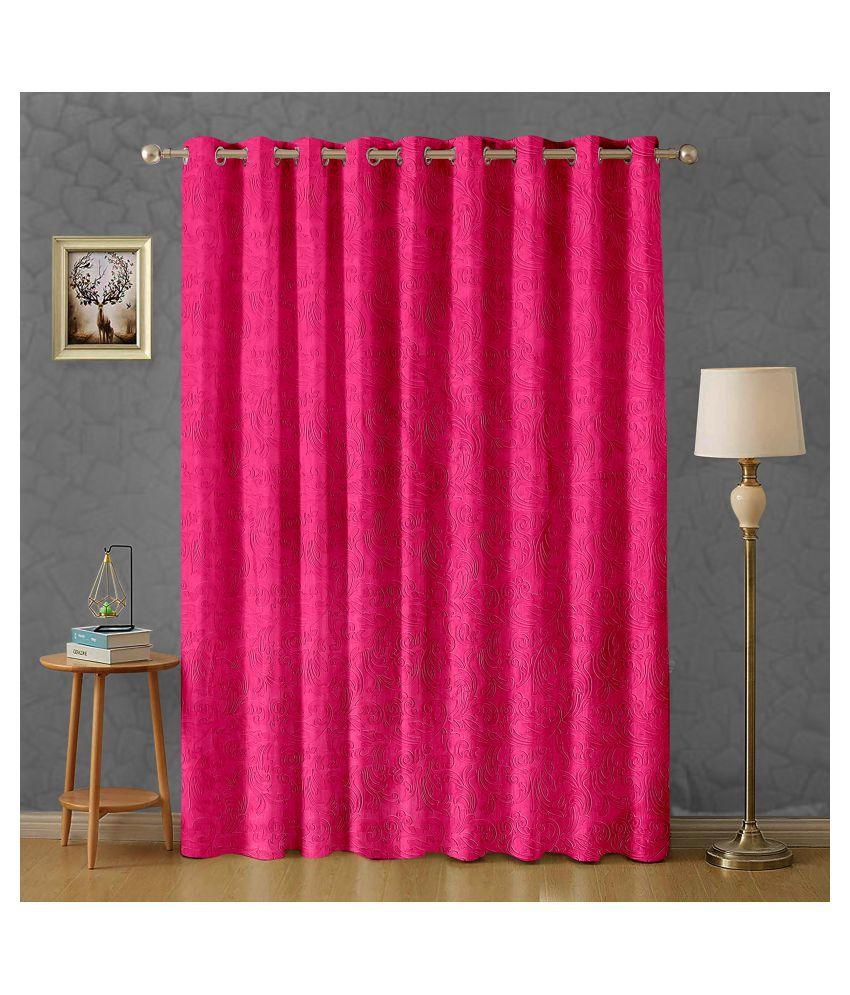 Hometique Single Window Semi-Transparent Eyelet Polyester Curtains Magenta