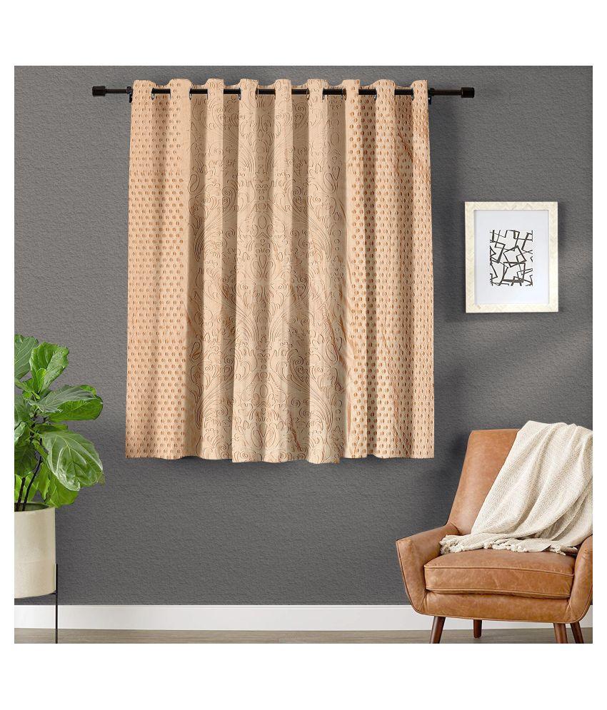 Hometique Single Window Semi-Transparent Eyelet Polyester Curtains Cream