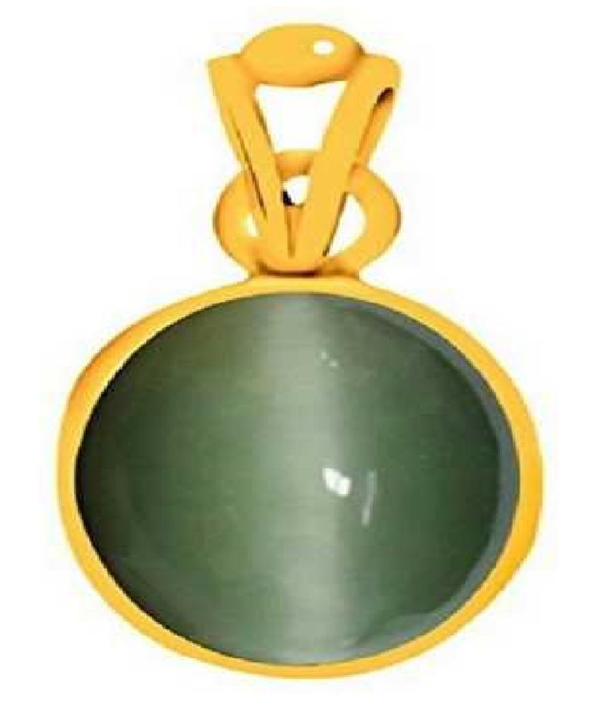 5 Ratti Cats Eye Pendent Ashthadhatu with Gold Plated For Men & Women… Gold-plated Cat's Eye  Pendant by Kundli Gems