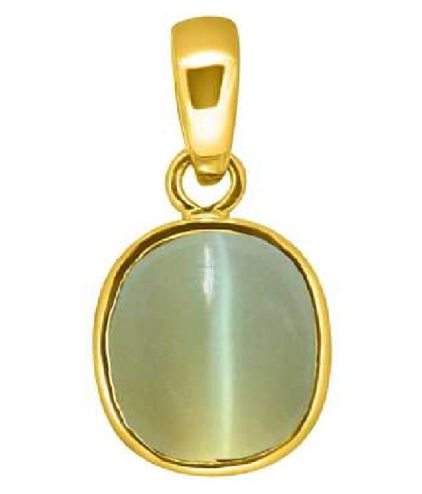 5 Ratti Natural Rashi Ratan CAT'S Eye  Gemstone Pendant CAT S EYe Stone Astrology Panchdhatu Pendant For Mens& Womens Gold-plated Cat's Eye Copper Pendant for men and women by kundli gems