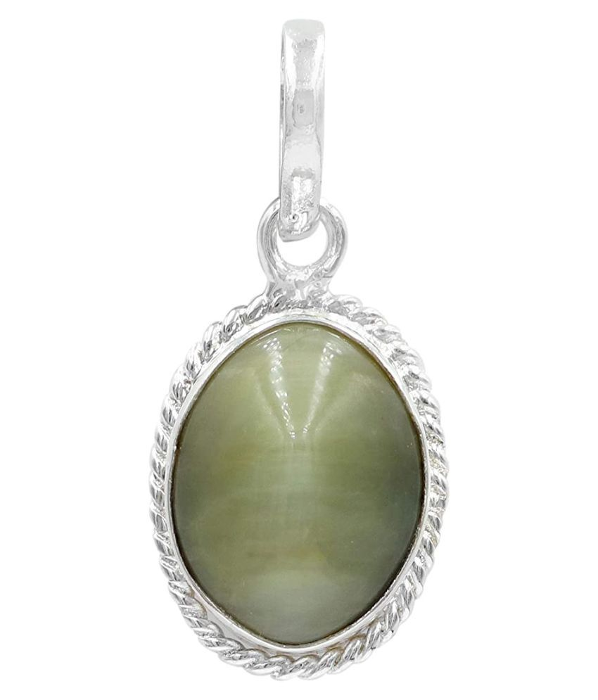 5 carat Cats eye Stone Pendant Natural Cats Eye stone Certified & Astrological purpose for men & women Silver Cat's Eye Stone Pendant by Kundli Gems