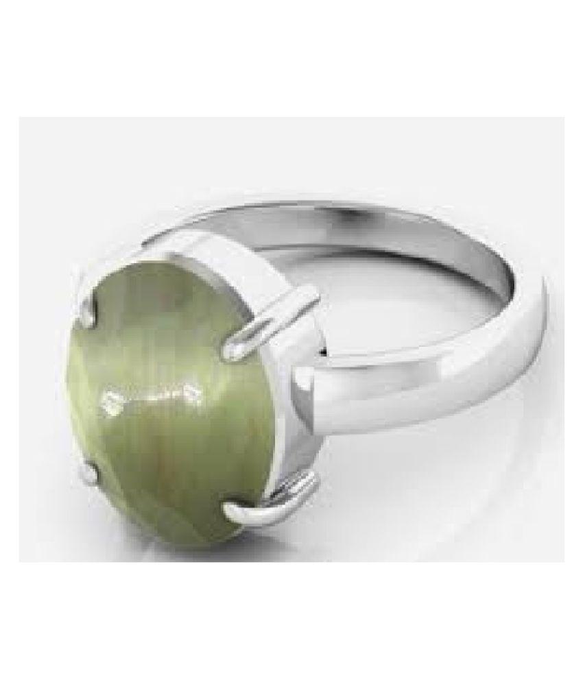 5 ratti Natural Cat's Eye (Lehsuniya) Stone Unheated Lab Certified Silver Ring by KUNDLI GEMS