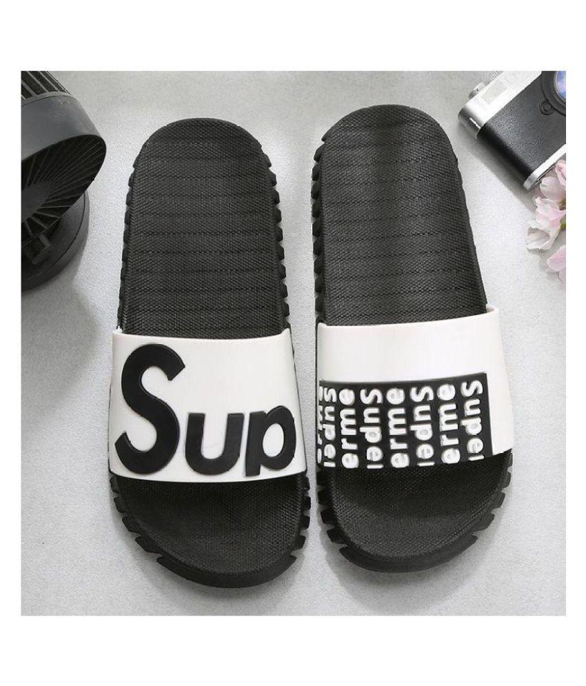DRUNKEN White Slide Flip flop