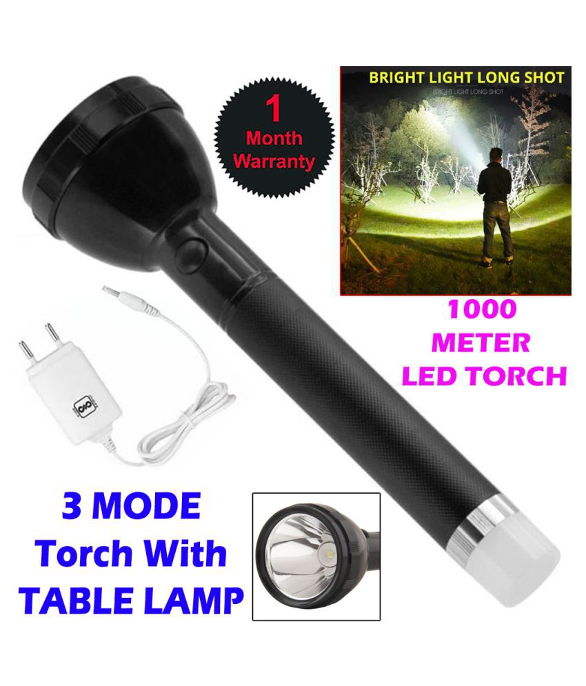 IND New 2 in 1 Rechargeable Battery Waterproof 50W Zoomable Flashlight Torch 50W Flashlight Torch - Pack of 1