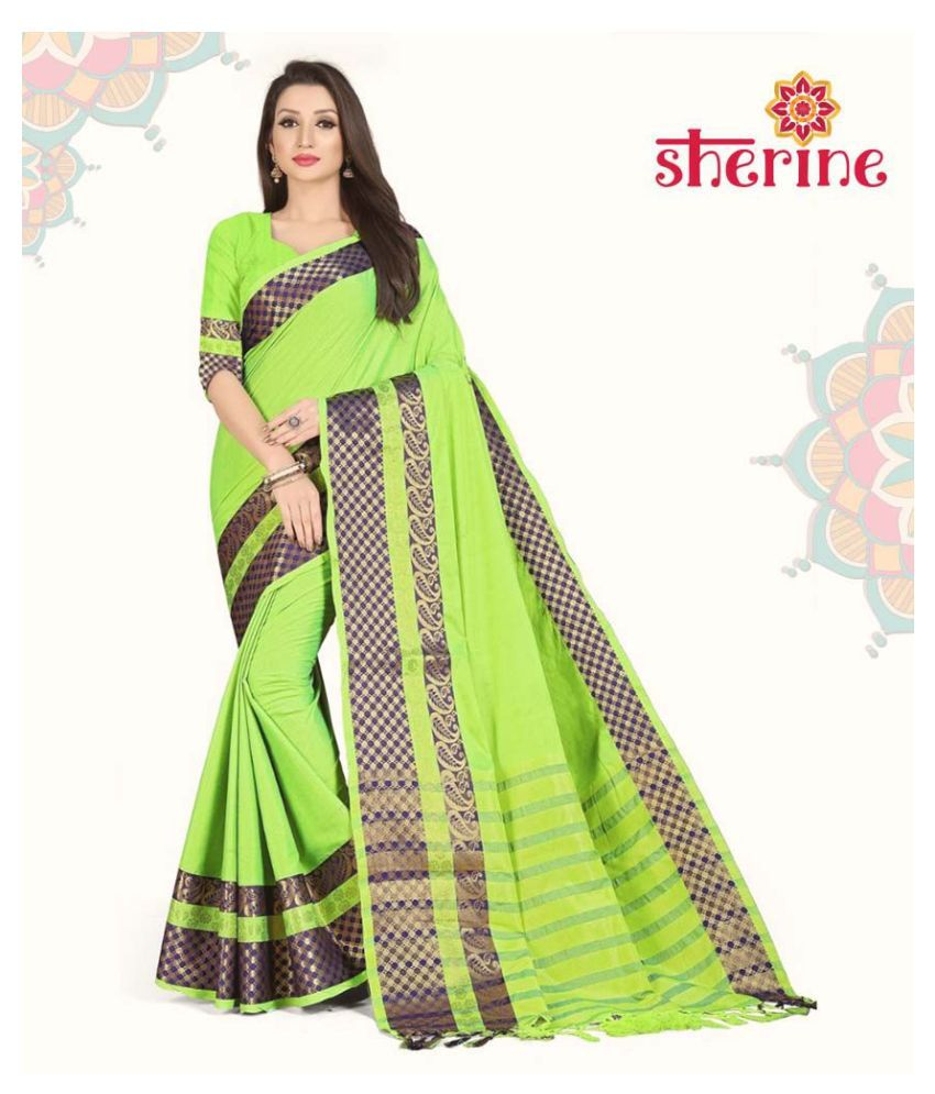 Sherine GreenJacquard Border Saree