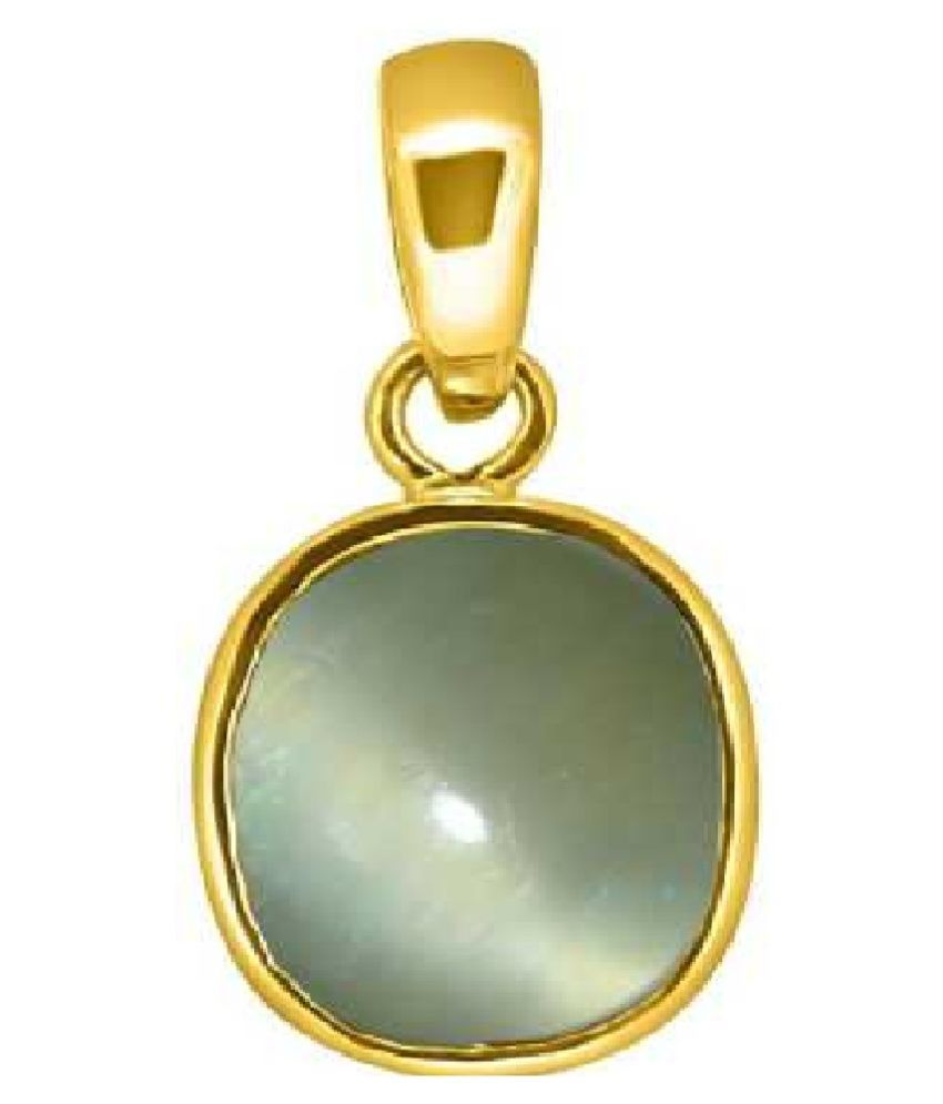 5.25 ratti Cats eye Stone Pendant Natural Cats Eye stone Certified & Astrological purpose for men & women Gold Plated Cat's Eye Stone Pendant by Kundli Gems