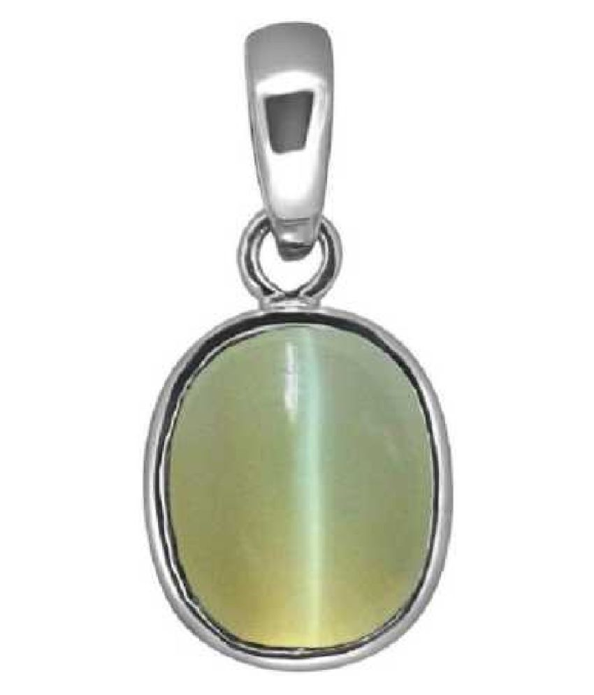 5.5 Ratti Cats Eye Pendent   with Sterling SilverFor Men & Women… Sterling Silver Cat's Eye  Pendant by Kundli Gems