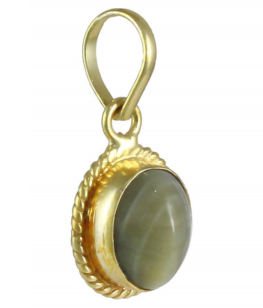 6.25 ratti Cats eye Stone Pendant Natural Cats Eye stone Certified & Astrological purpose for men & women Gold Plated Cat's Eye Stone Pendant by Kundli Gems